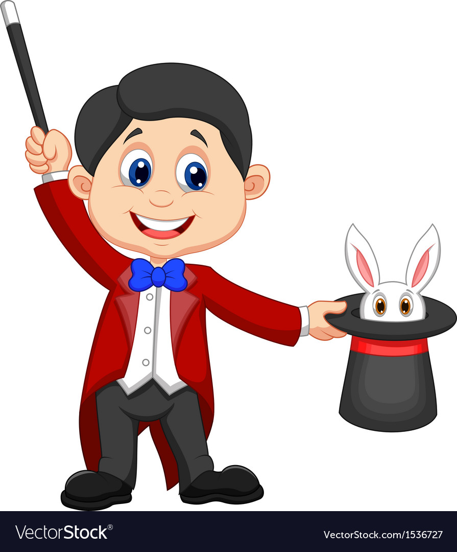 Magician cartoon pulling out a rabbit from his top vector | Price: 1 Credit (USD $1)