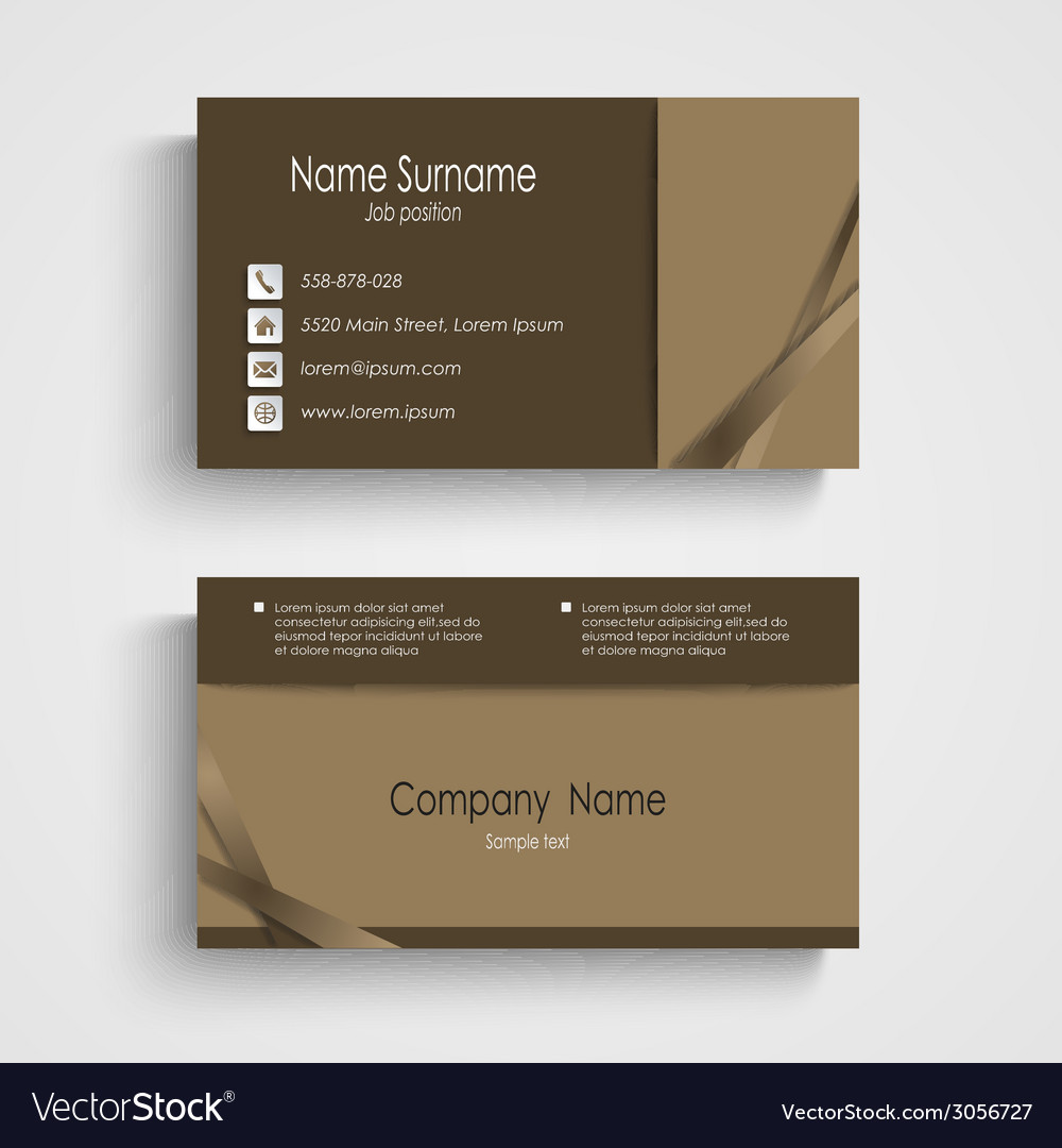 Modern sample brown business card template vector   Price: 1 Credit (USD $1)