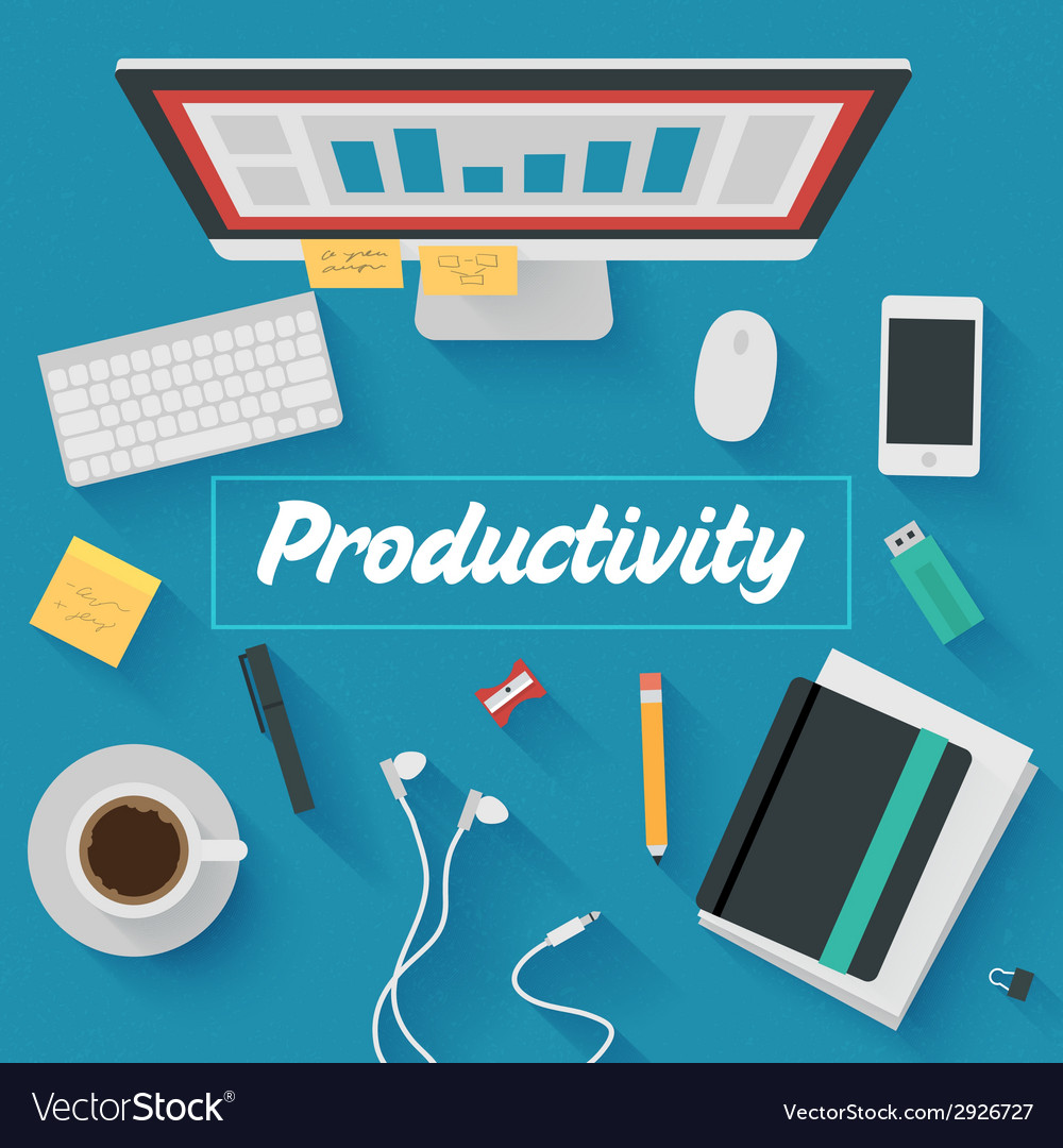 Trendy flat design productive office vector | Price: 1 Credit (USD $1)