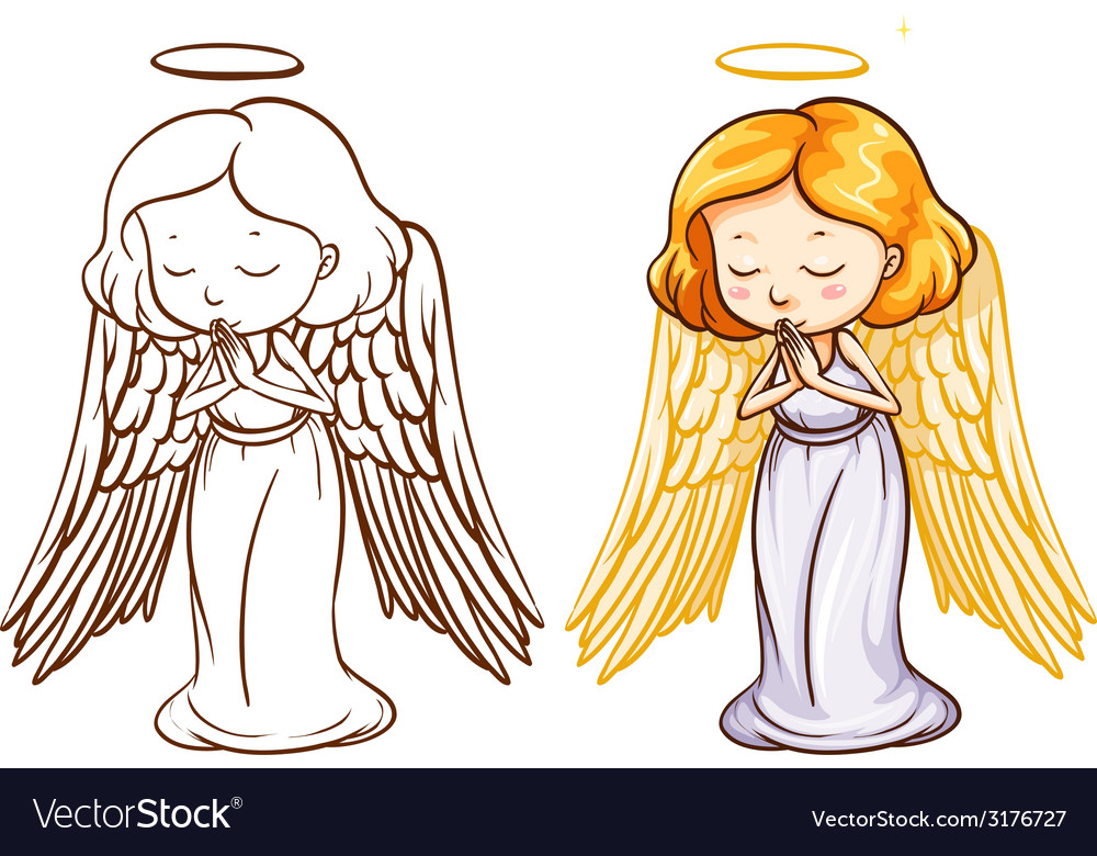 Two sketches of an angel vector | Price: 1 Credit (USD $1)
