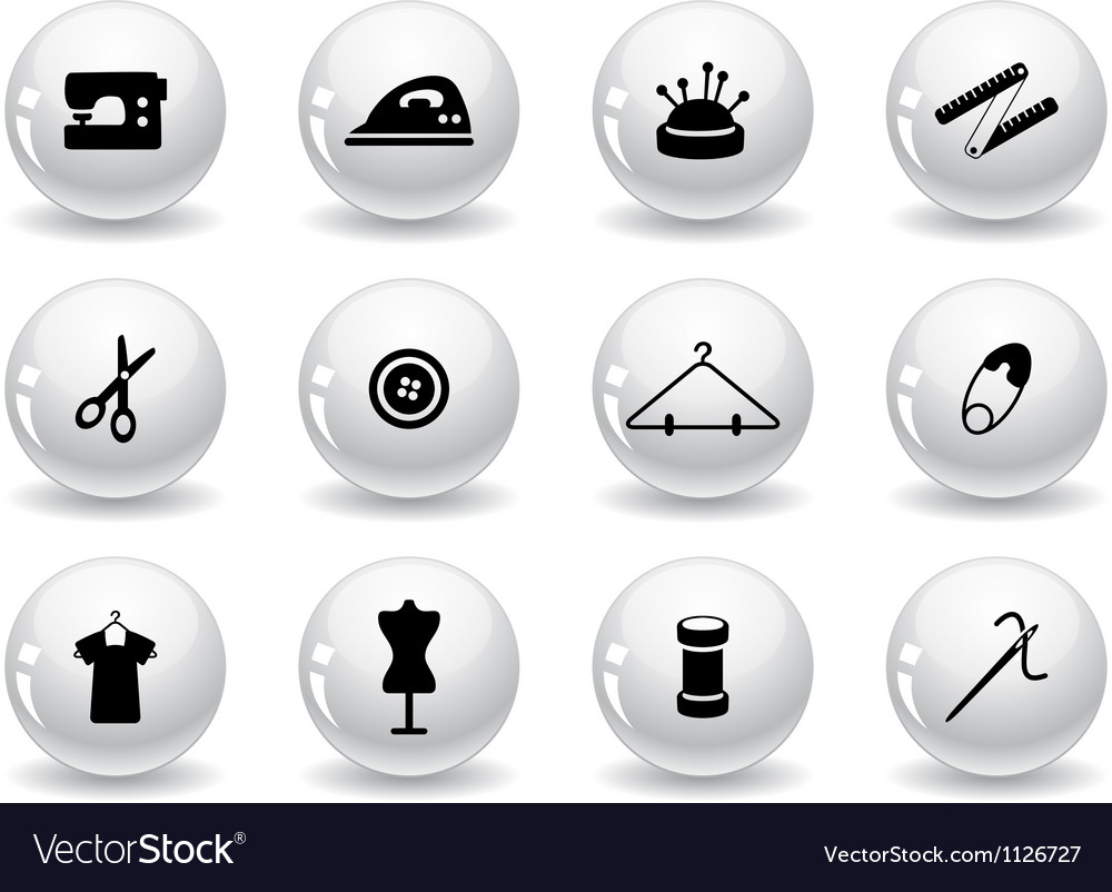 Web buttons sewing symbols vector | Price: 1 Credit (USD $1)