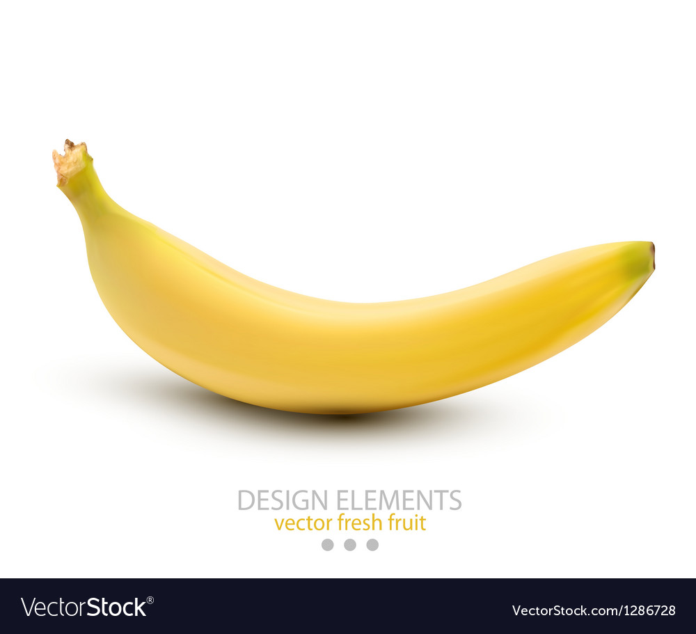 A banana on white background vector | Price: 3 Credit (USD $3)