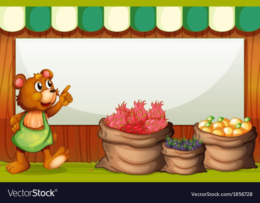 A bear at the market with an empty template at the vector | Price: 3 Credit (USD $3)