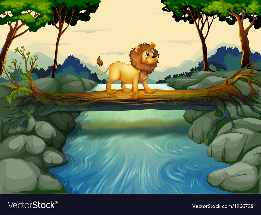 A lion crossing the river vector | Price: 1 Credit (USD $1)