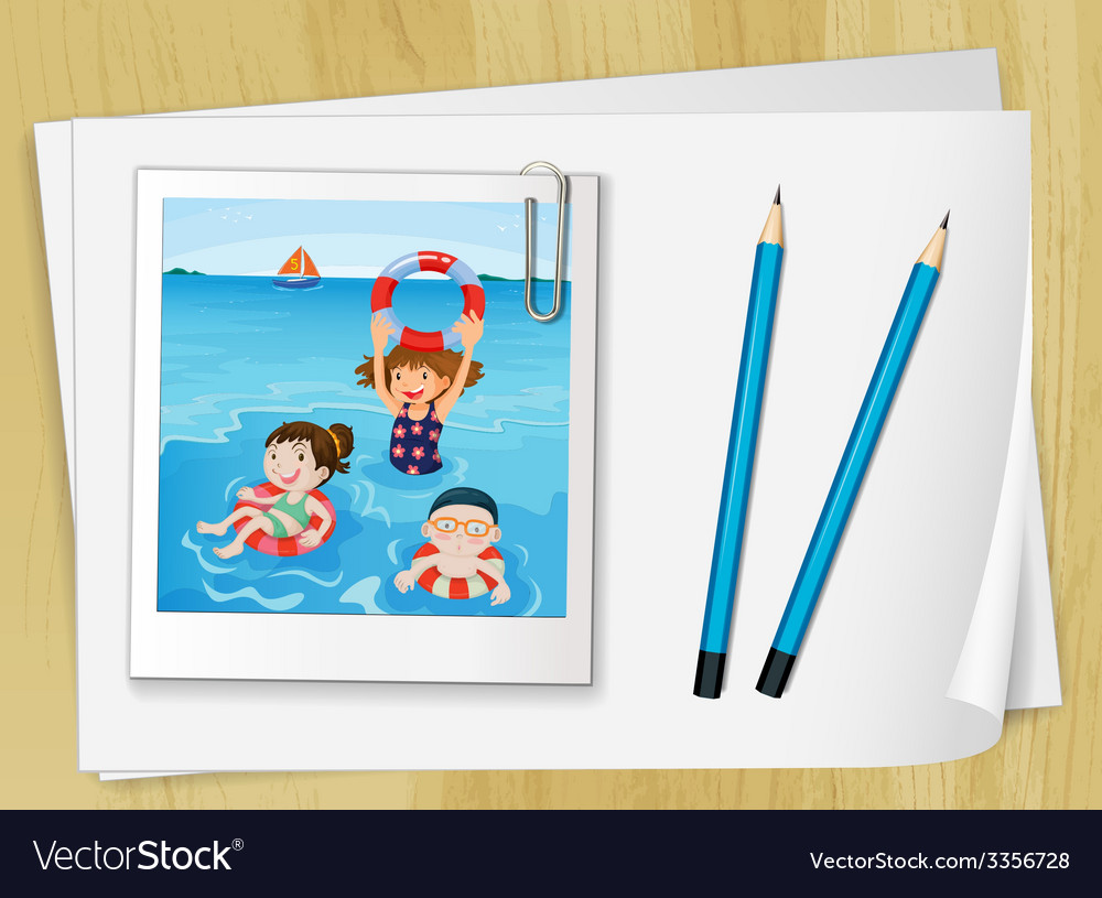 Bondpapers with a frame and pencils vector | Price: 3 Credit (USD $3)