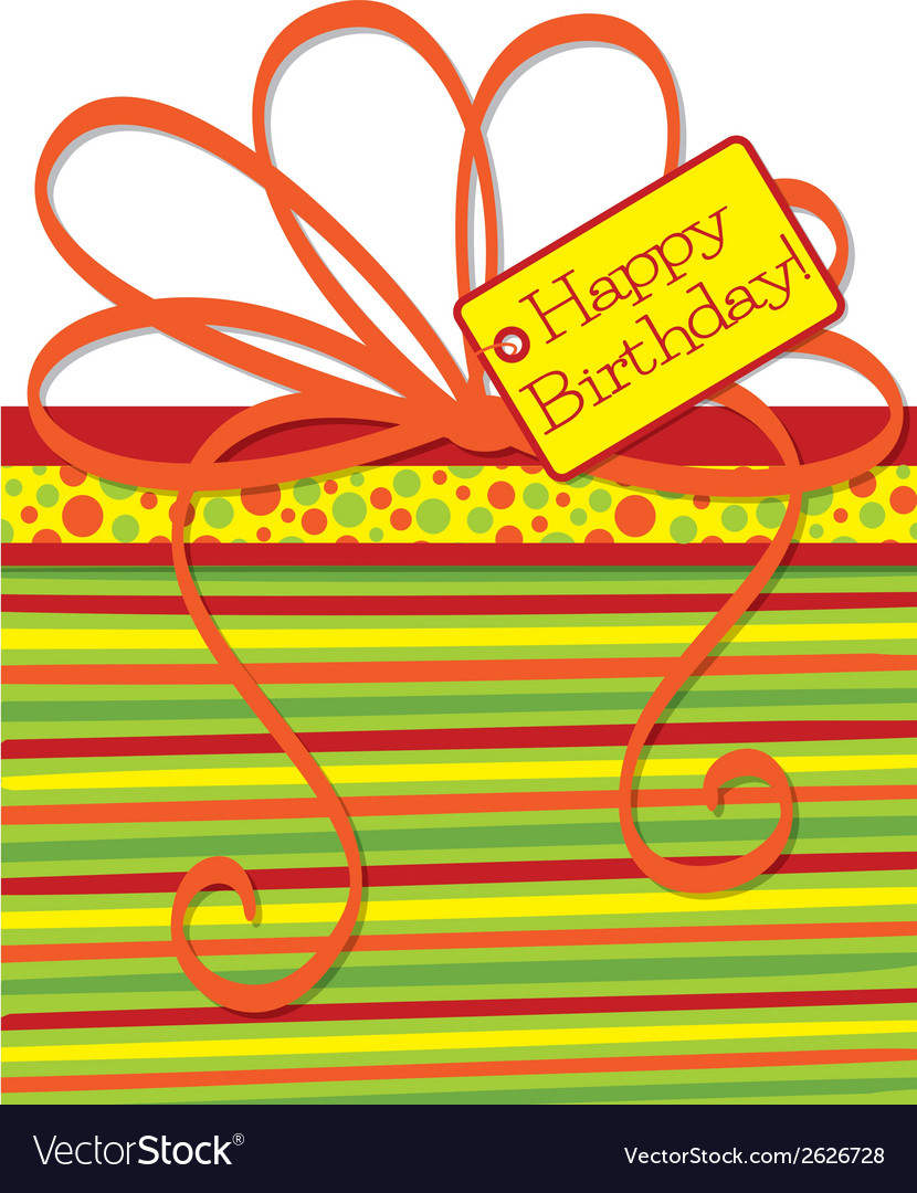 Bright gift box birthday card in format vector | Price: 1 Credit (USD $1)