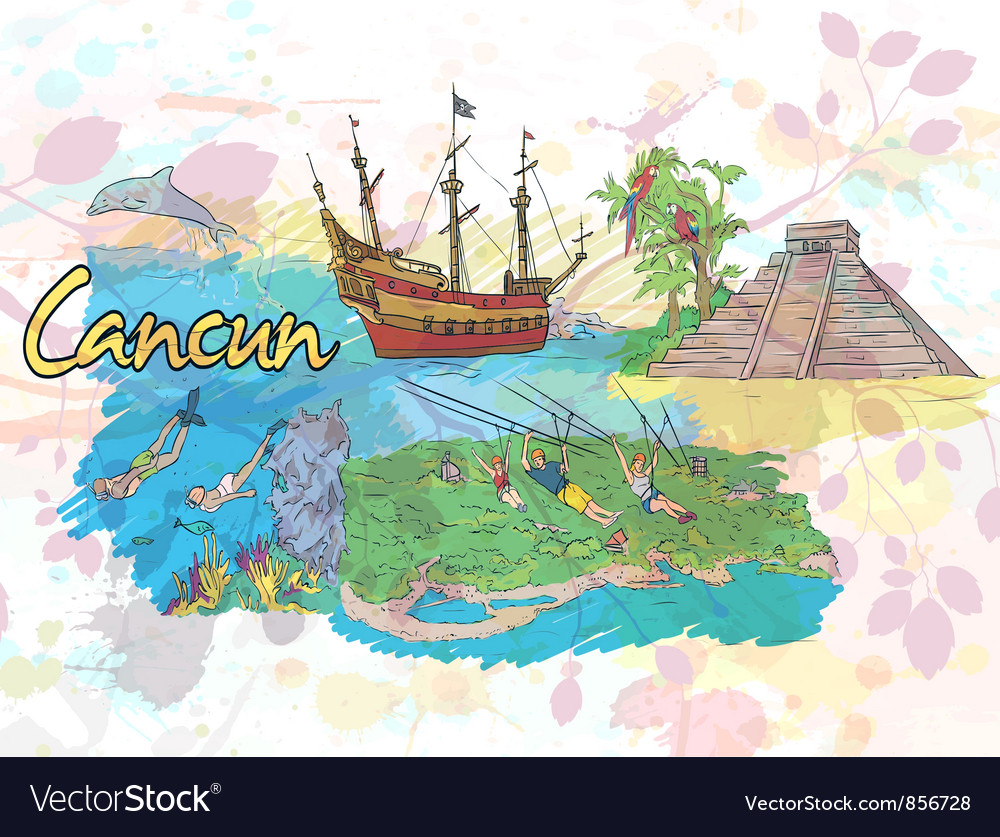 Cancun doodles vector | Price: 3 Credit (USD $3)