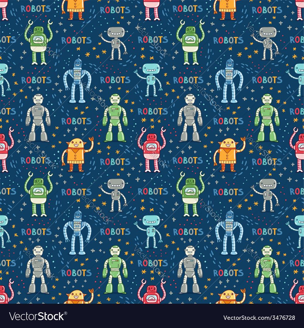 Cartoon robots blue seamless pattern vector | Price: 1 Credit (USD $1)