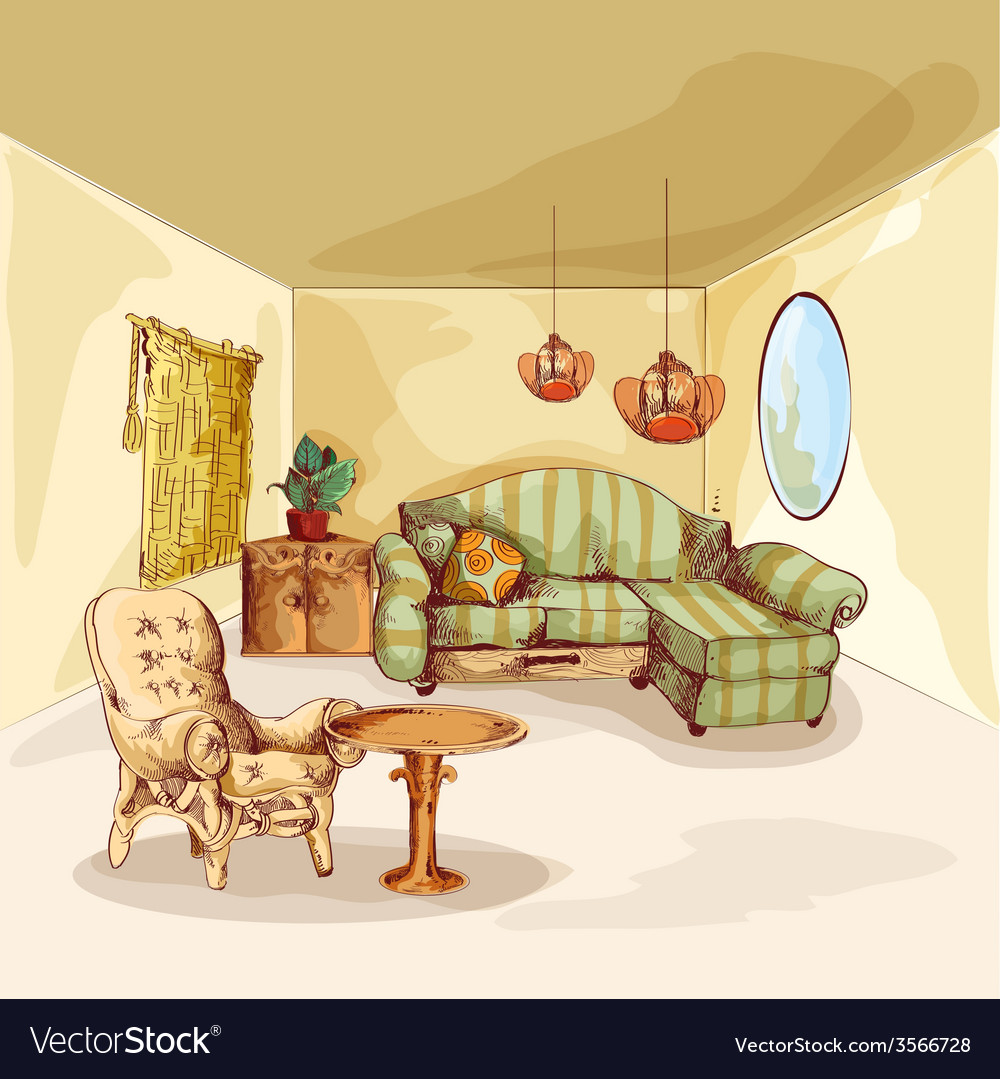 Living room interior sketch vector | Price: 1 Credit (USD $1)