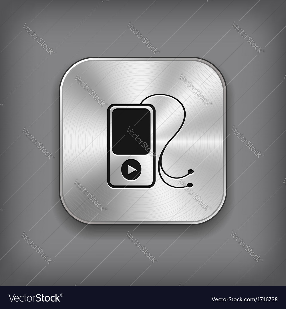 Mp3 player icon - metal app button vector | Price: 1 Credit (USD $1)
