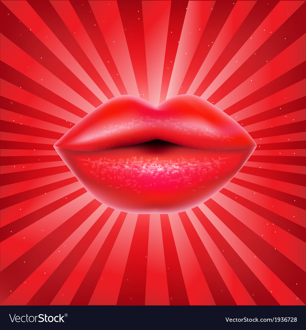 Red lips with sunburst vector | Price: 1 Credit (USD $1)
