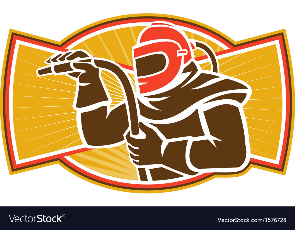 Sandblaster sandblasting hose side retro vector | Price: 1 Credit (USD $1)
