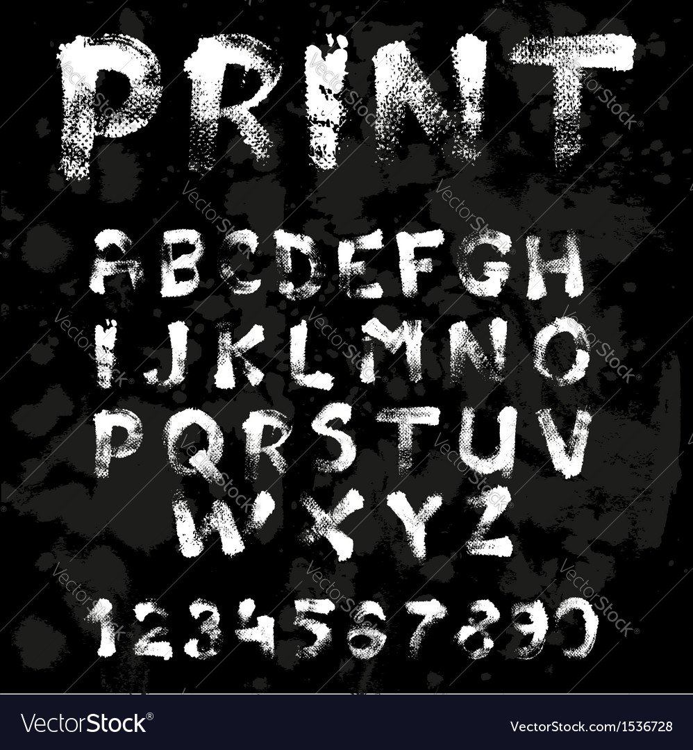 Texture font written with paint and brushes on vector | Price: 1 Credit (USD $1)