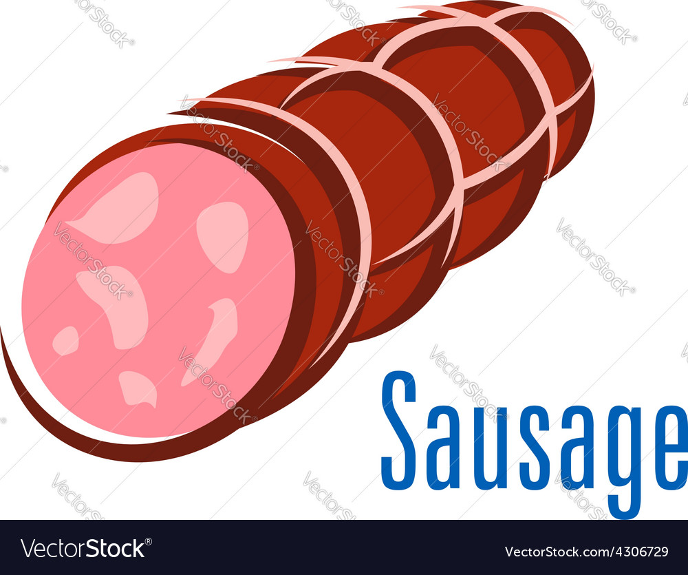 Cartooned smoked sausage isolated on white vector | Price: 1 Credit (USD $1)