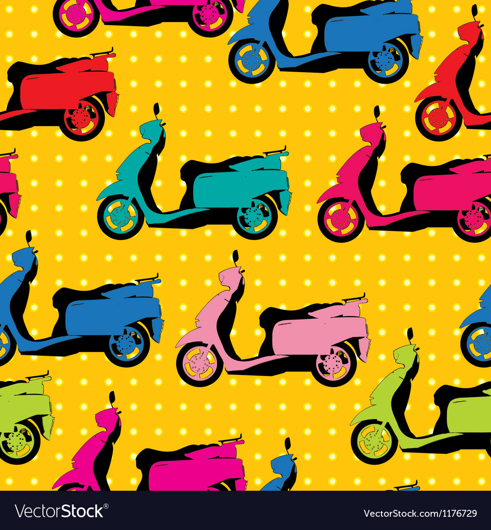 Comic style scooter pattern vector | Price: 1 Credit (USD $1)