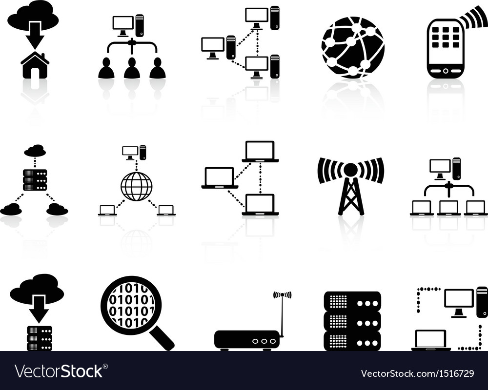 Computer communication icons set vector | Price: 1 Credit (USD $1)