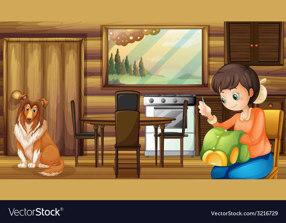 Dog and house housewife indoors vector | Price: 3 Credit (USD $3)