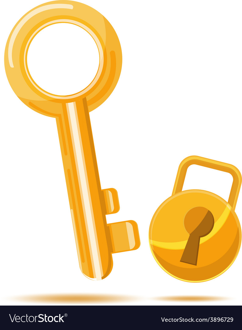 Gold key business icon cartoon vector | Price: 1 Credit (USD $1)
