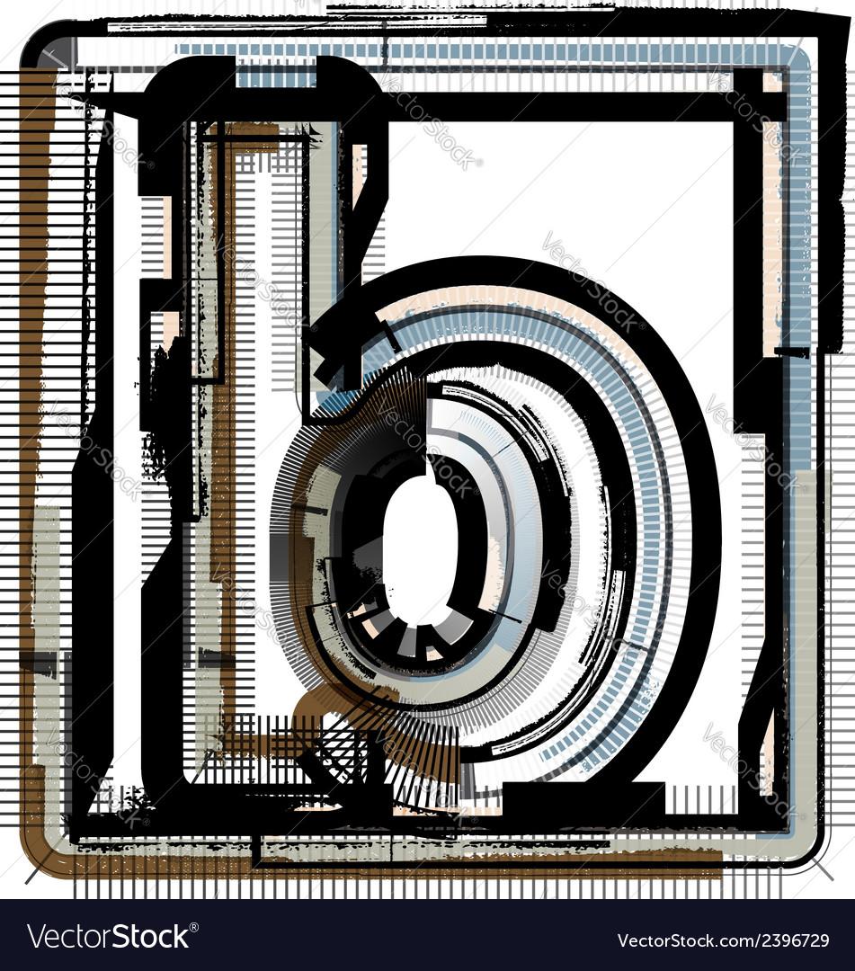 Grunge font letter b vector | Price: 1 Credit (USD $1)