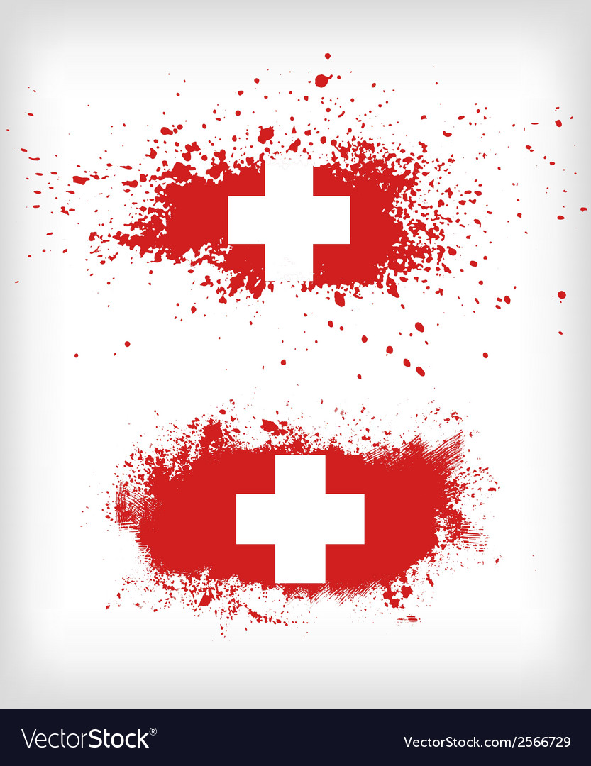 Grunge ink splattered flag of switzerland vector | Price: 1 Credit (USD $1)