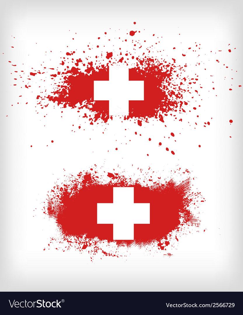 Grunge ink splattered flag of switzerland vector | Price: 1 Credit (USD $1)