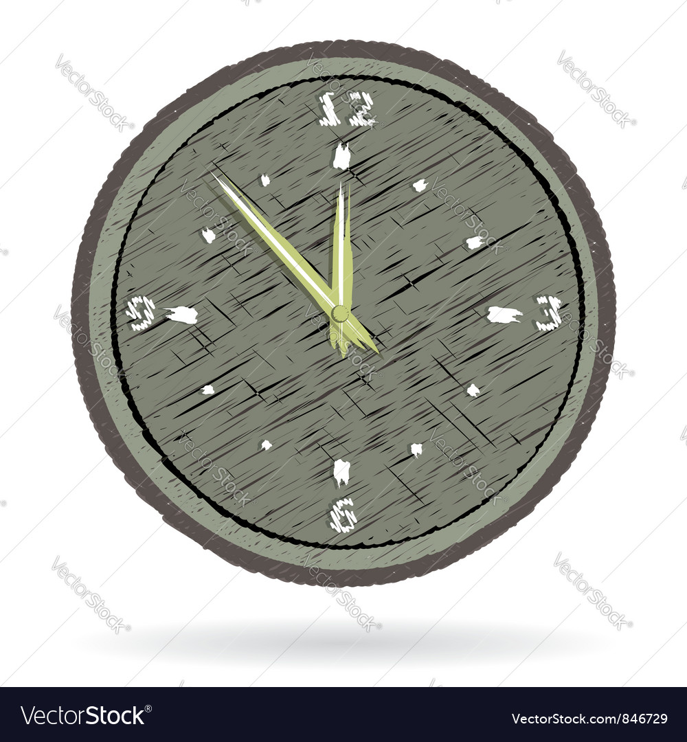 Old cracked surface clock vector | Price: 1 Credit (USD $1)