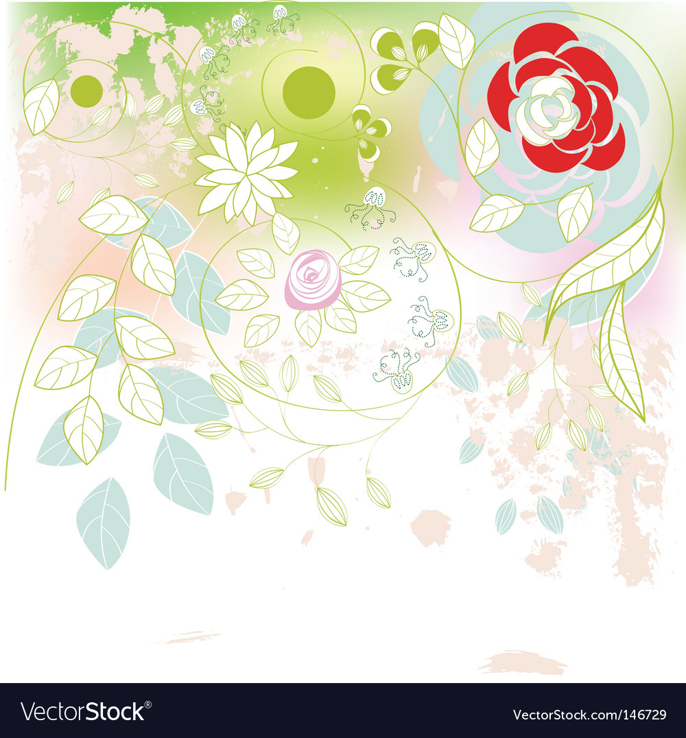 Romantic background with flowers vector | Price: 1 Credit (USD $1)