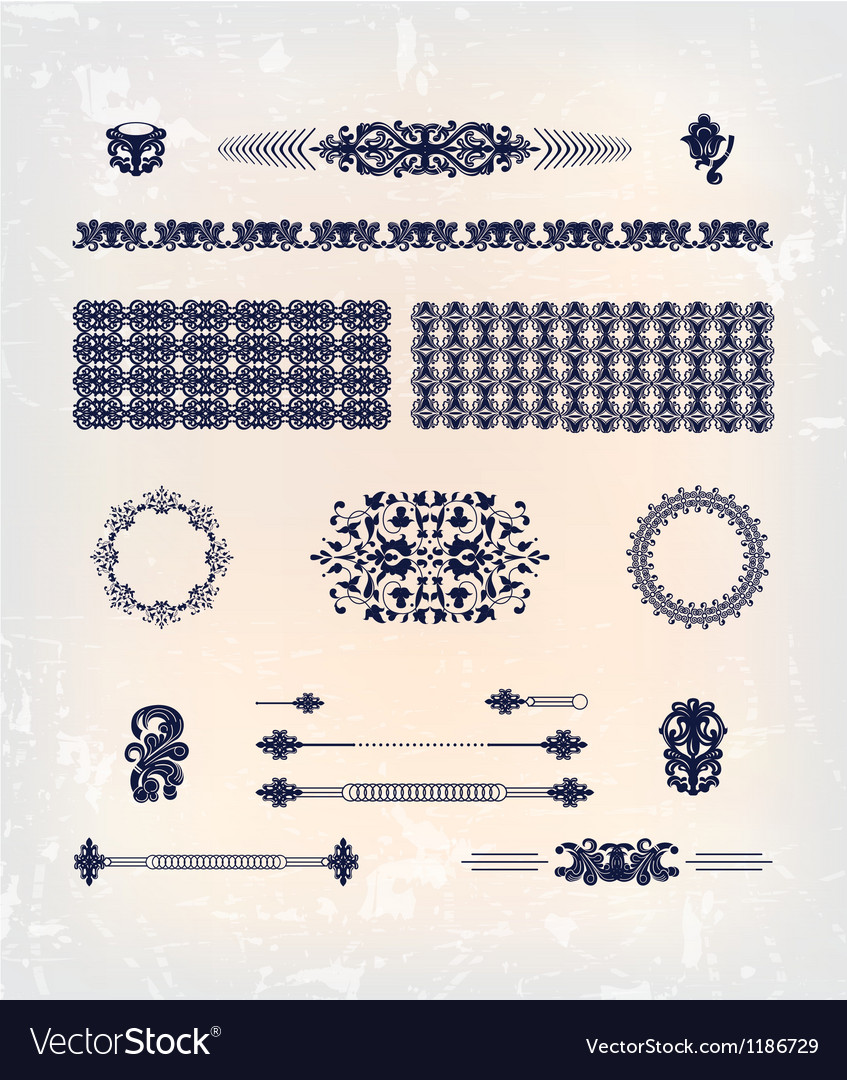 Set of abstract decor pattern design vector | Price: 1 Credit (USD $1)