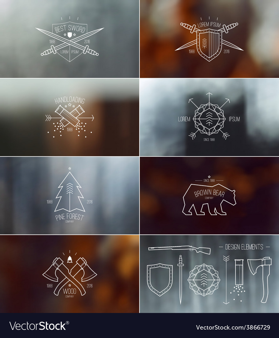 Set of badges with blurred backgrounds vector | Price: 1 Credit (USD $1)