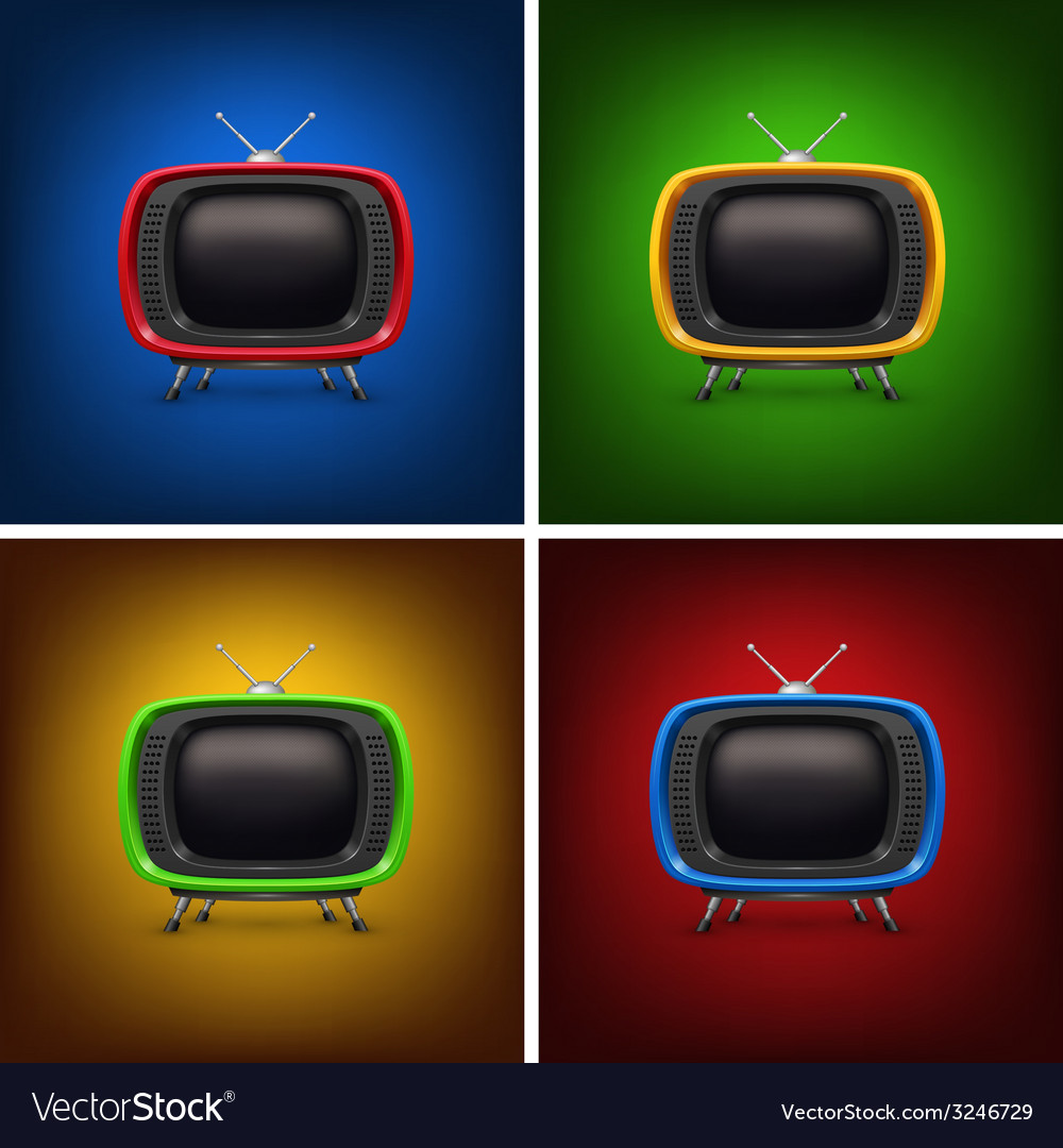 Set retro color tv with background vector | Price: 1 Credit (USD $1)