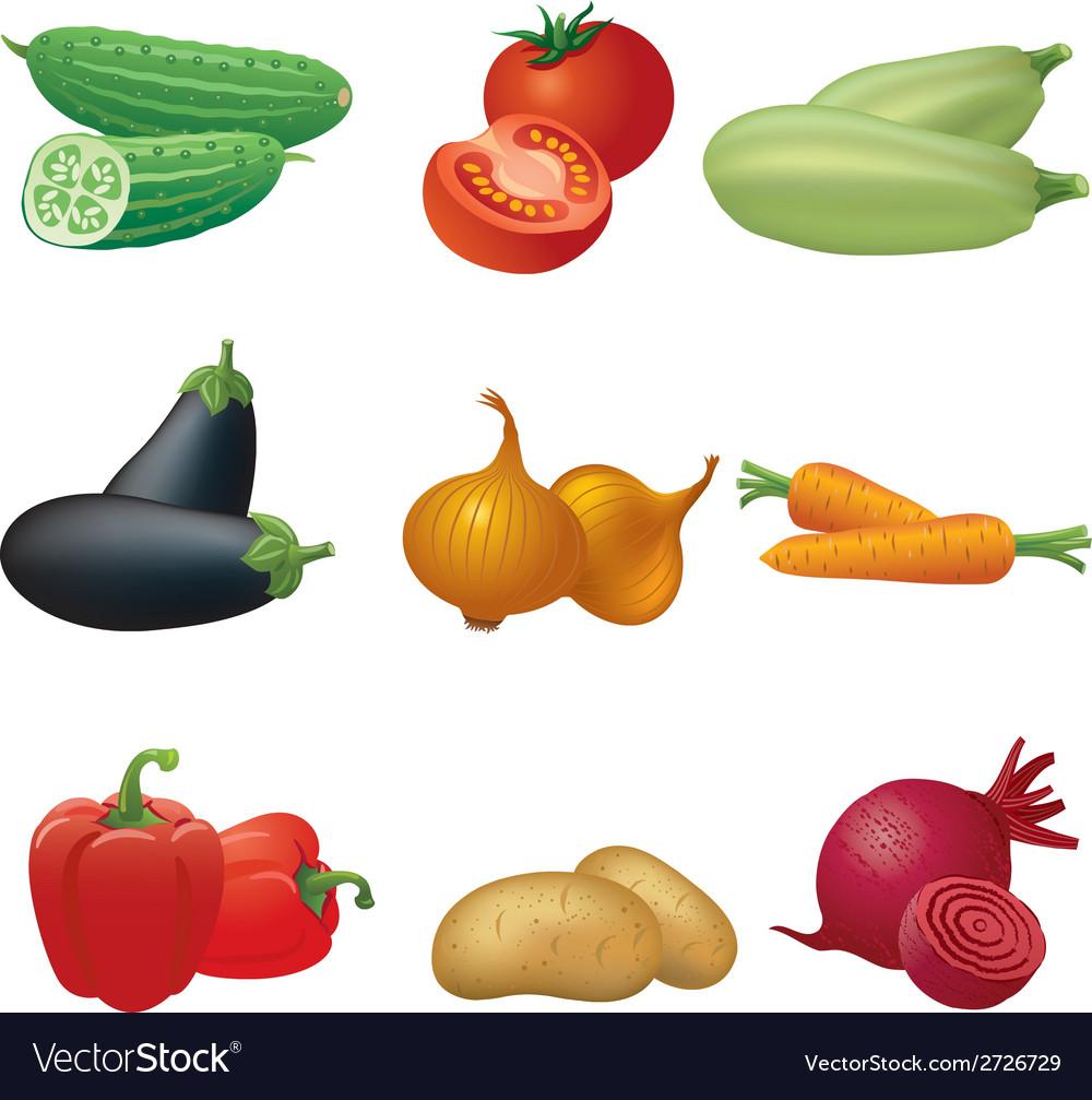 Vegetables icon set vector | Price: 1 Credit (USD $1)