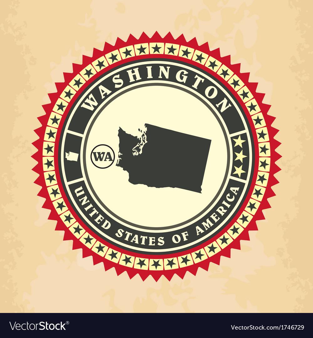Vintage label-sticker cards of washington vector   Price: 1 Credit (USD $1)