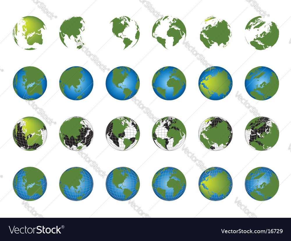 World map globe collection vector | Price: 3 Credit (USD $3)