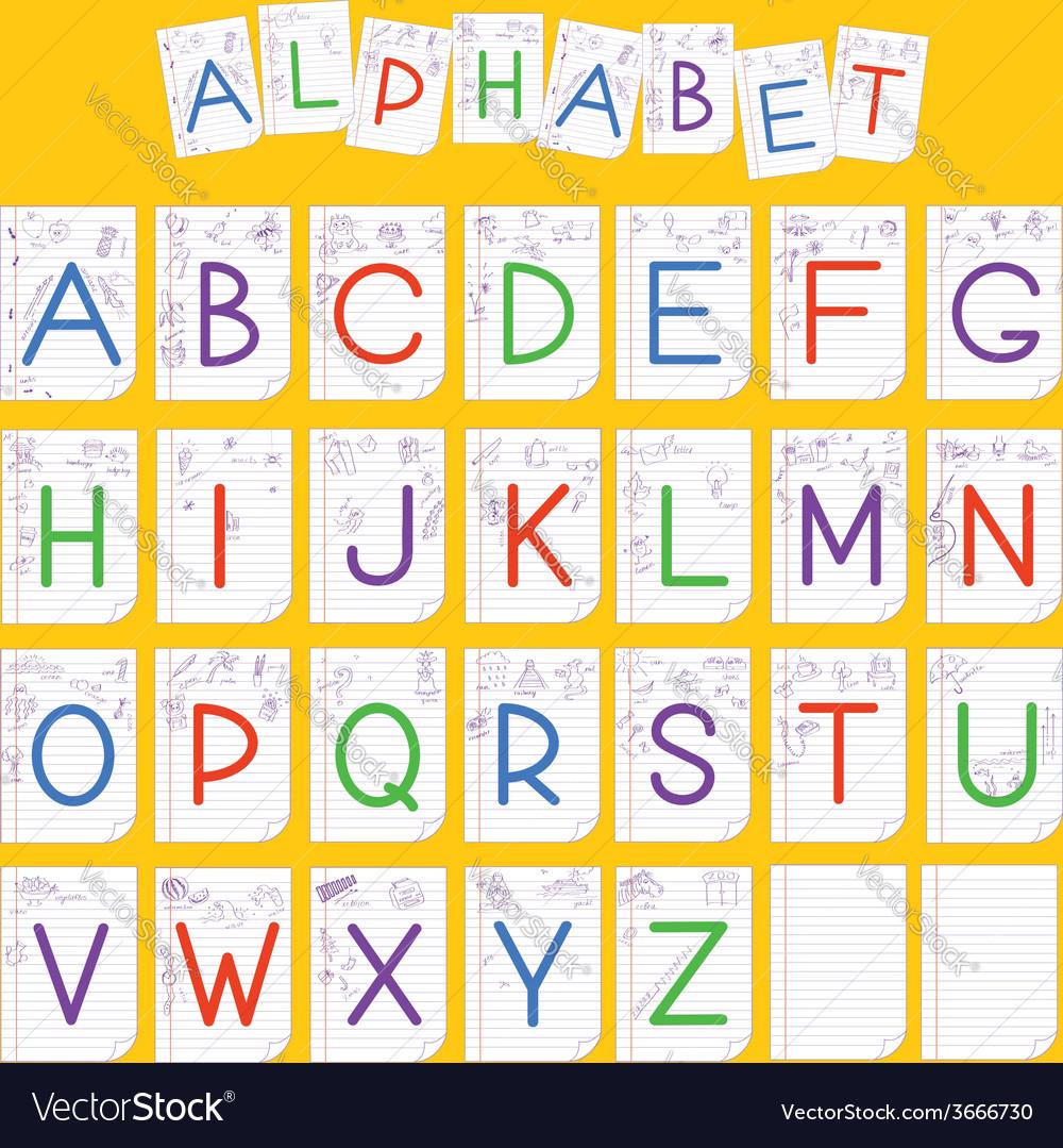 Child english alphabet vector   Price: 1 Credit (USD $1)