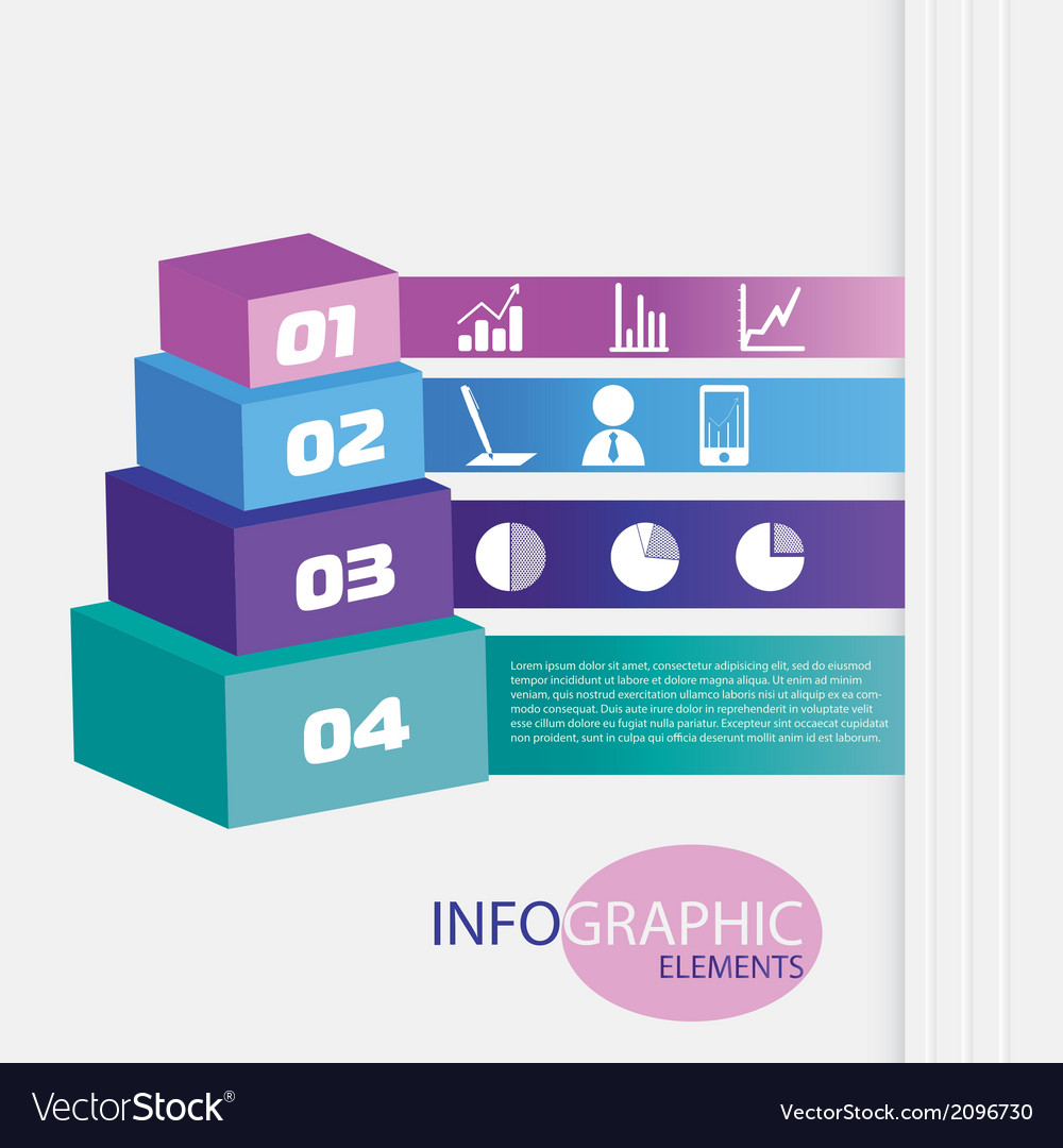 Colored pyramid with numbers and icons vector | Price: 1 Credit (USD $1)