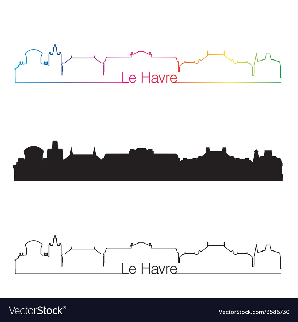 Le havre skyline linear style with rainbow vector | Price: 1 Credit (USD $1)