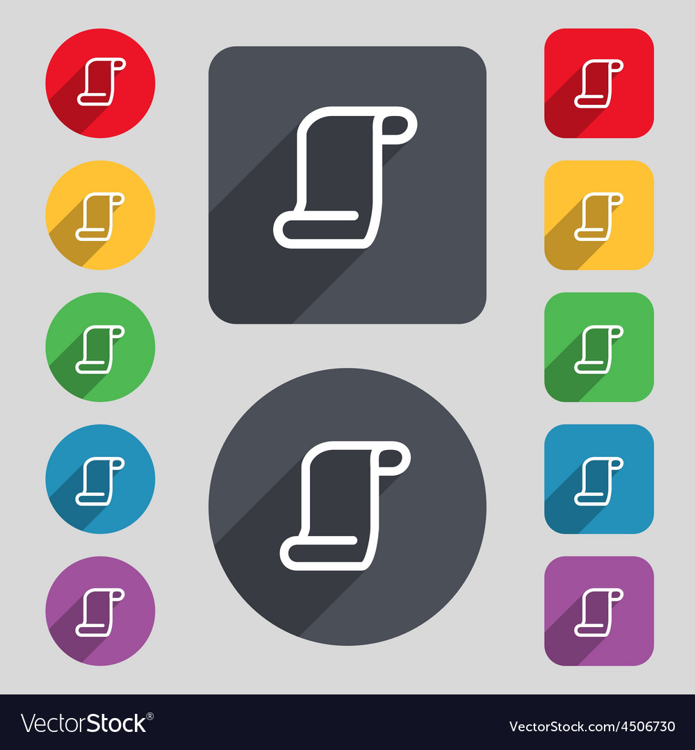 Paper scroll icon sign a set of 12 colored buttons vector | Price: 1 Credit (USD $1)