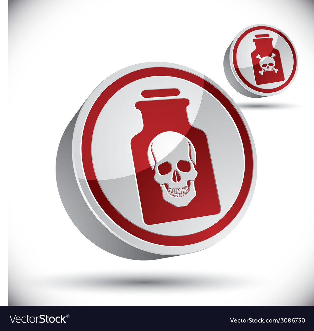 Poison bottle with skull 3d icon vector | Price: 1 Credit (USD $1)