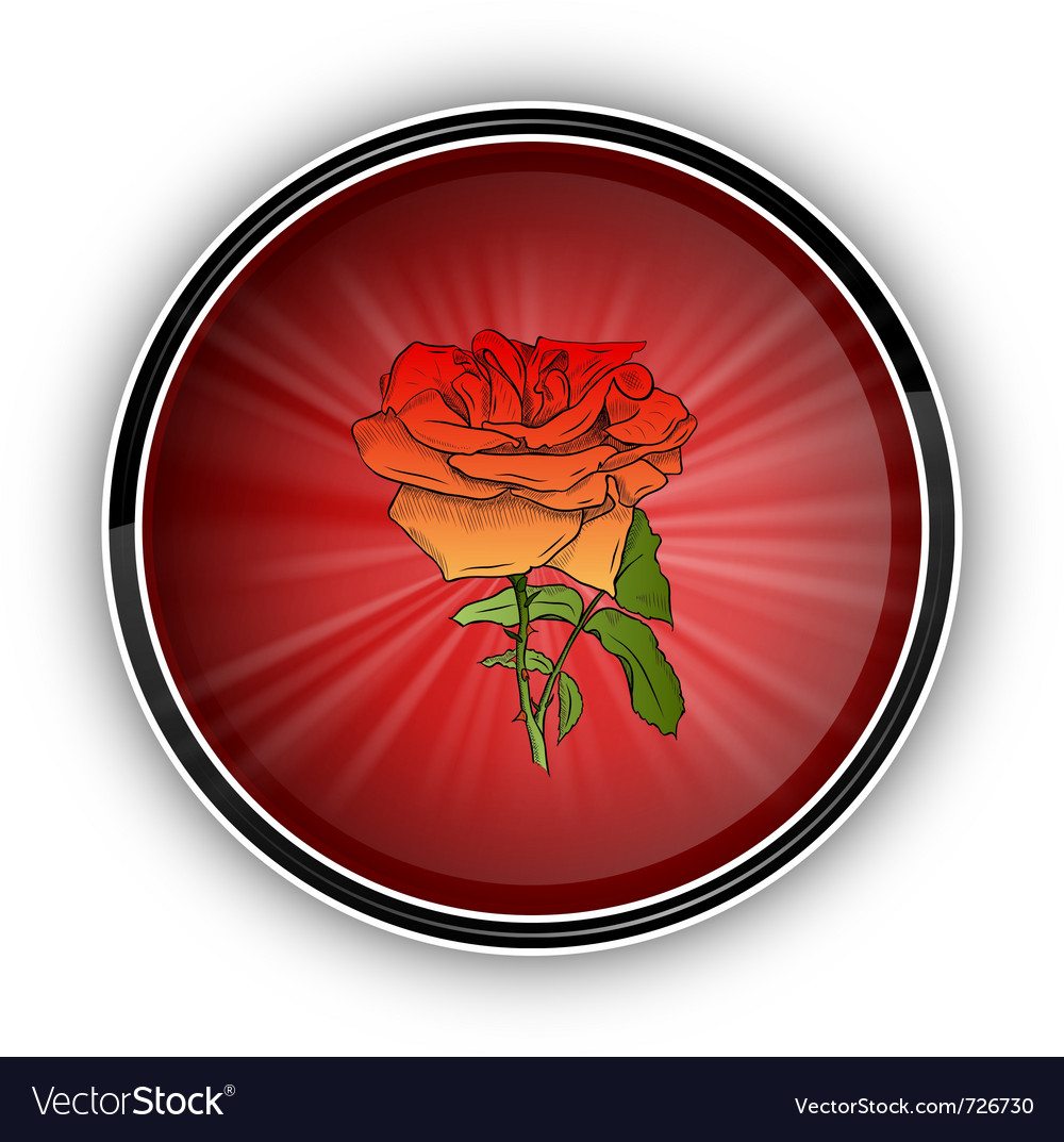 Red rose on the round symbol vector | Price: 1 Credit (USD $1)