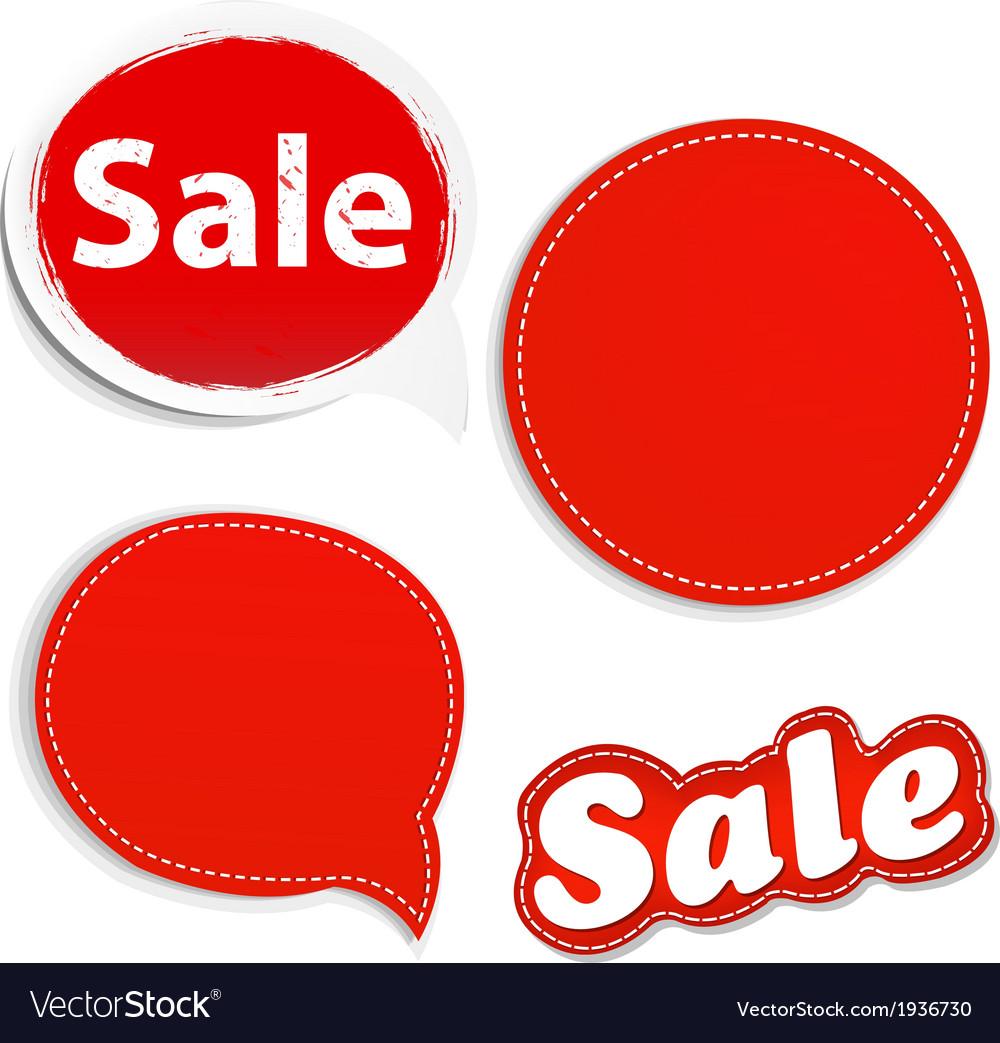 Red set speech bunner set vector | Price: 1 Credit (USD $1)