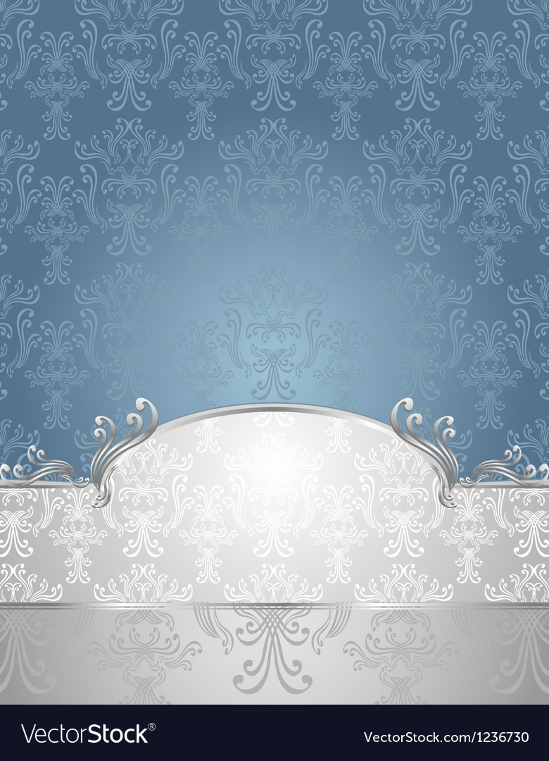 Set seamless pattern in victorian style blue and s vector | Price: 1 Credit (USD $1)