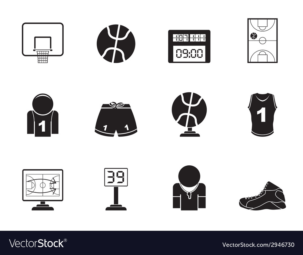 Silhouette basketball and sport icons vector | Price: 1 Credit (USD $1)