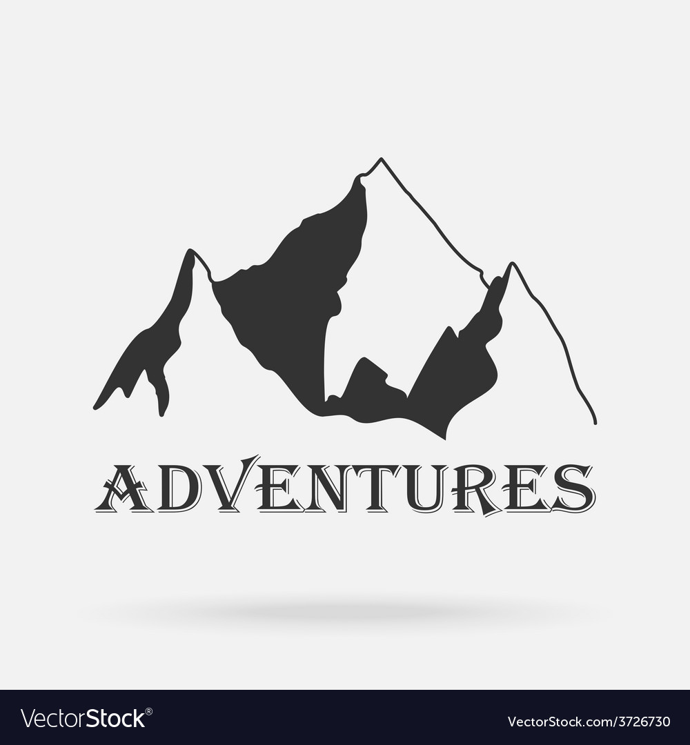 The three peaks vintage mountains adventure vector | Price: 1 Credit (USD $1)