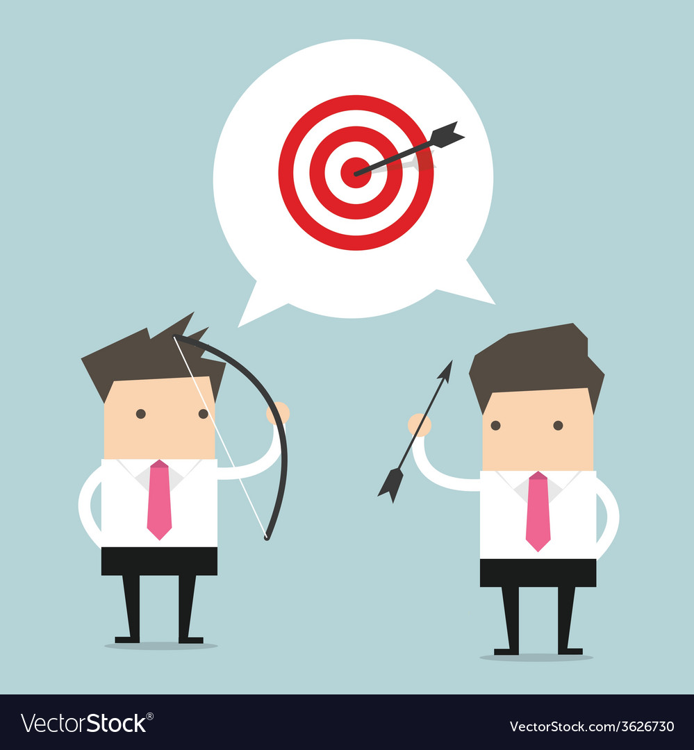 Two businessman and one target vector | Price: 1 Credit (USD $1)