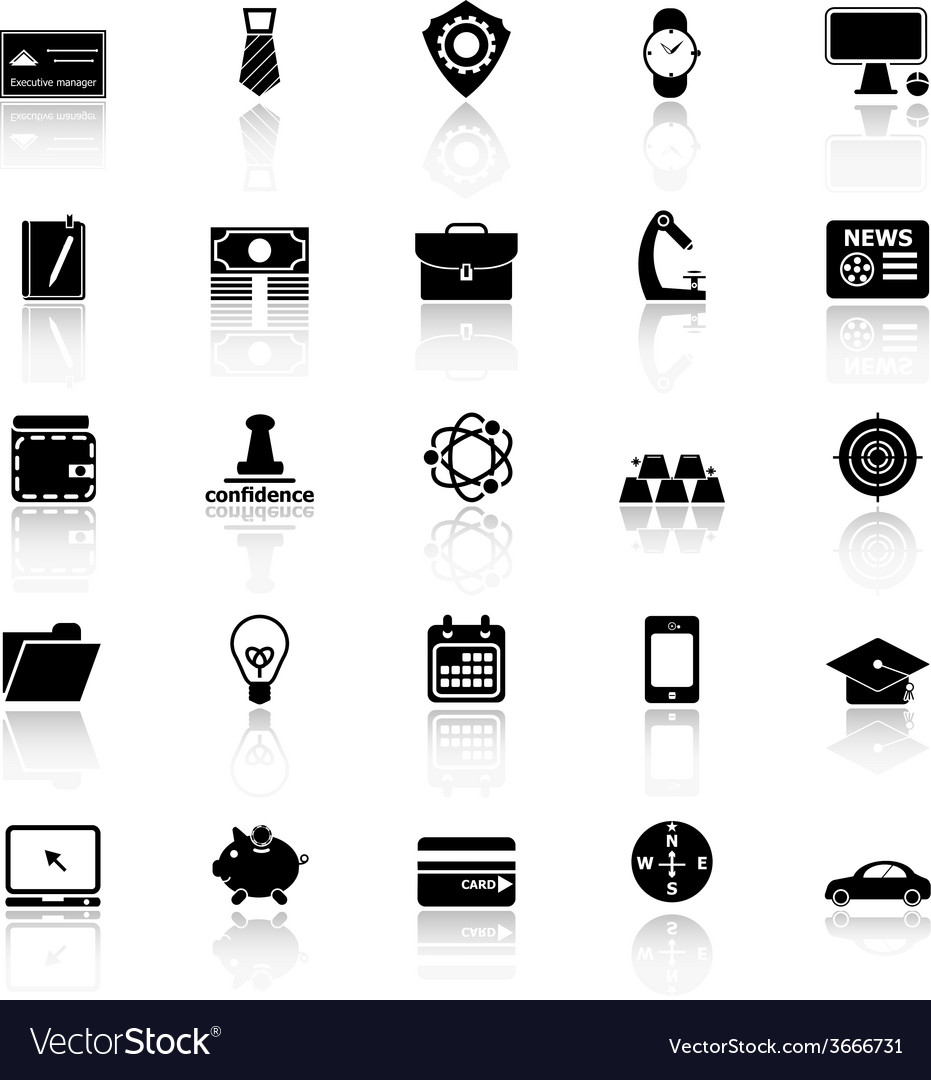 Businessman item icons with reflect on white vector   Price: 1 Credit (USD $1)