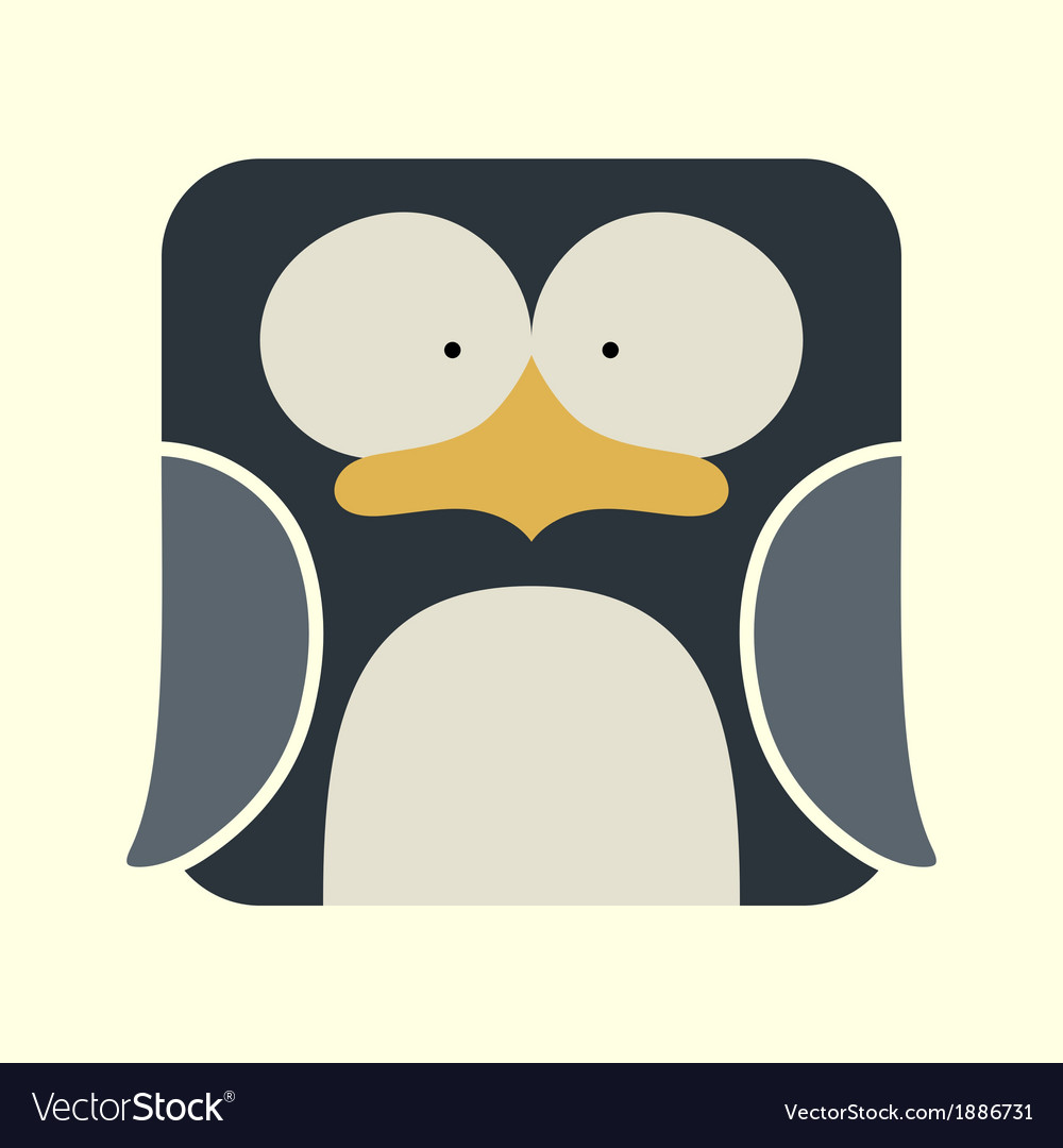 Flat square icon of a cute penguin vector | Price: 1 Credit (USD $1)