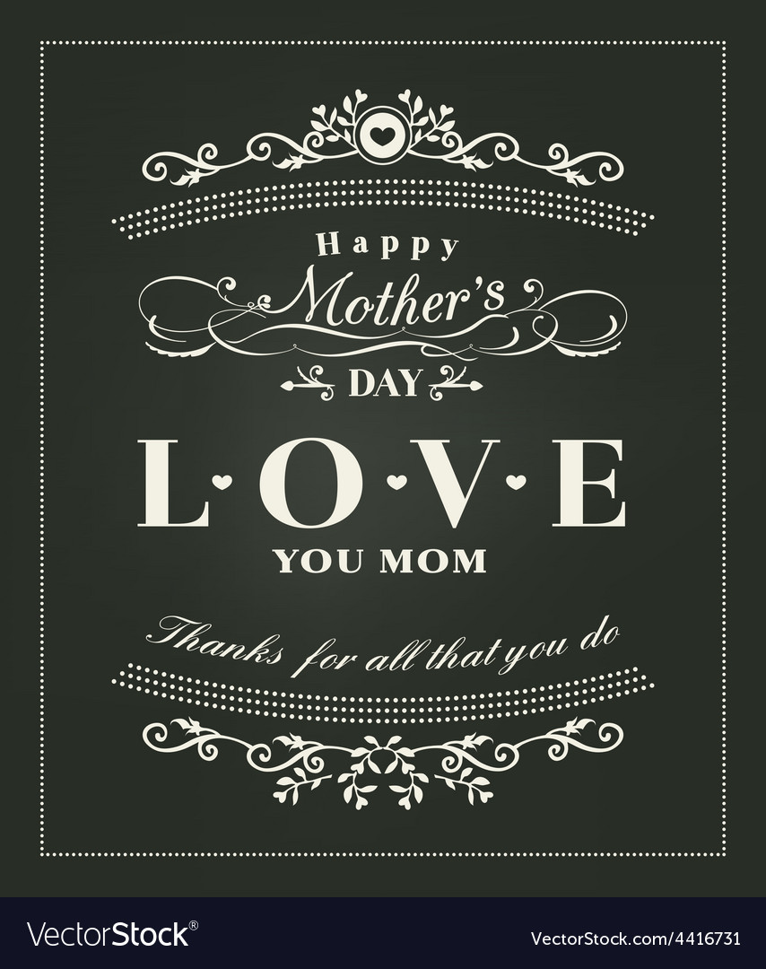 Happy mothers day typography design on blackboard vector