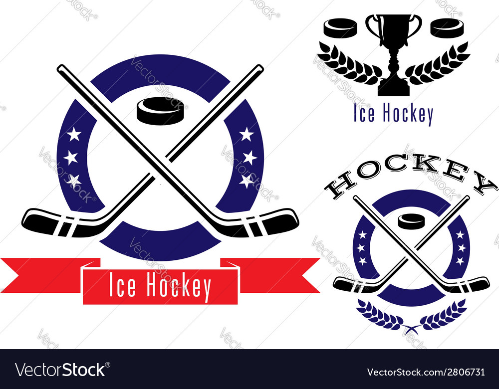 Ice hockey symbols or emblems set vector | Price: 1 Credit (USD $1)