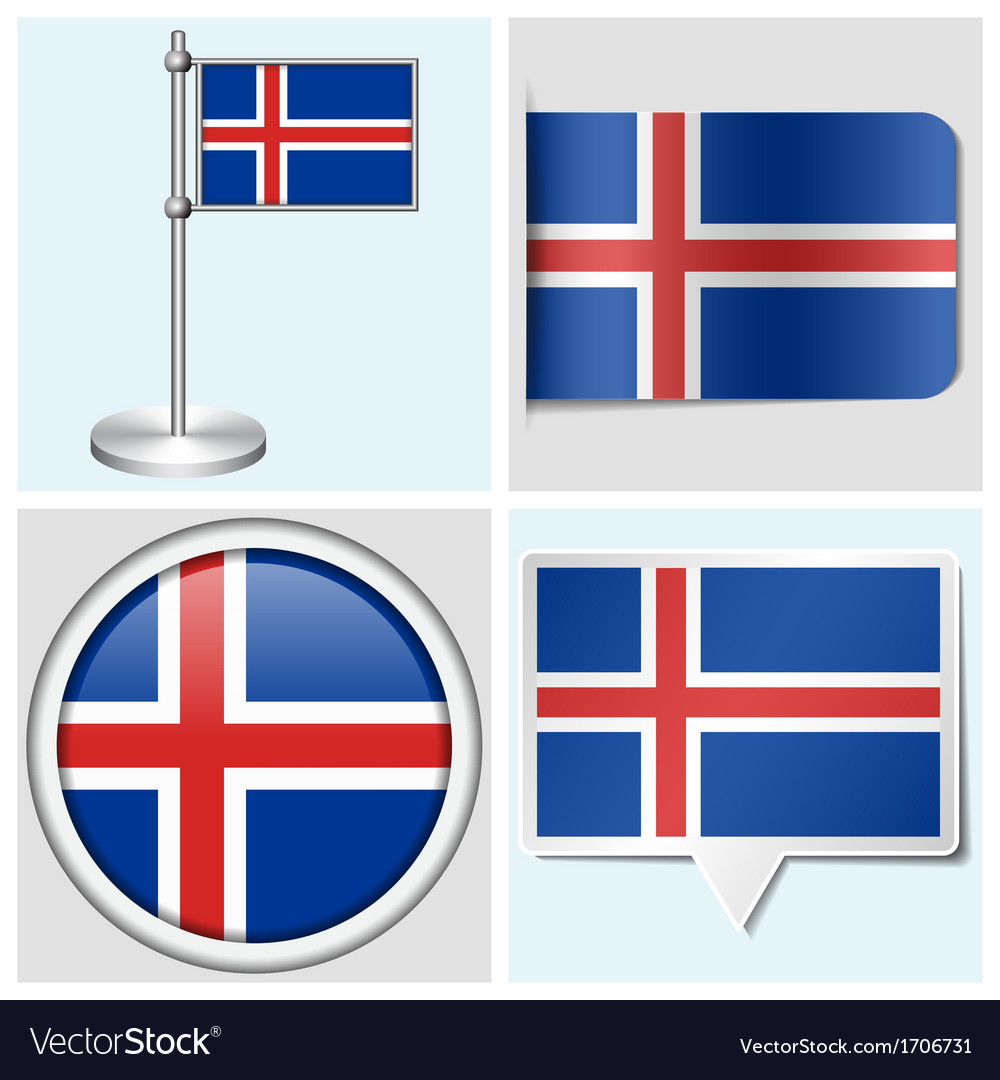 Iceland flag - sticker button label flagstaff vector | Price: 1 Credit (USD $1)