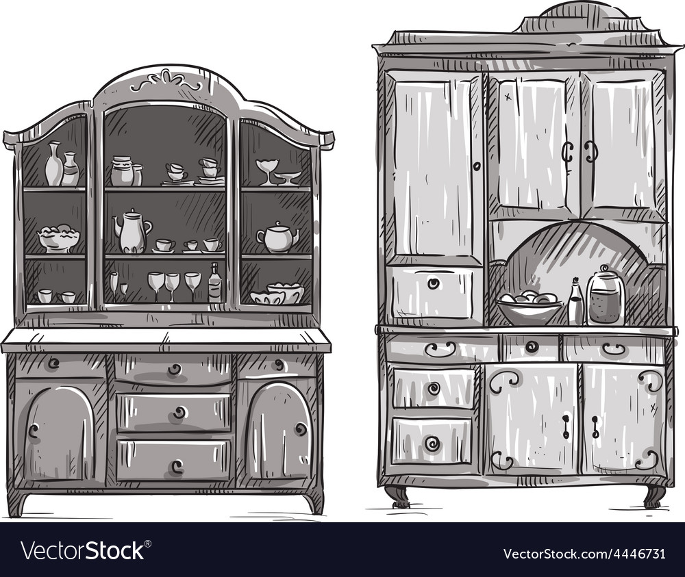 Kitchen cupboards vector